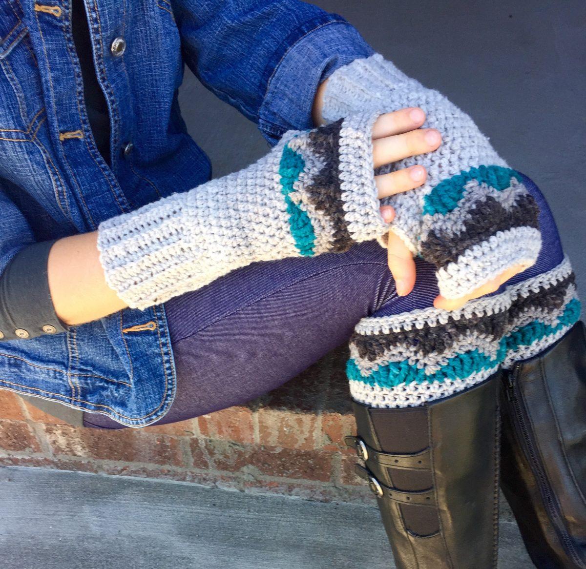 Alpine boot cuffs and fingerless gloves