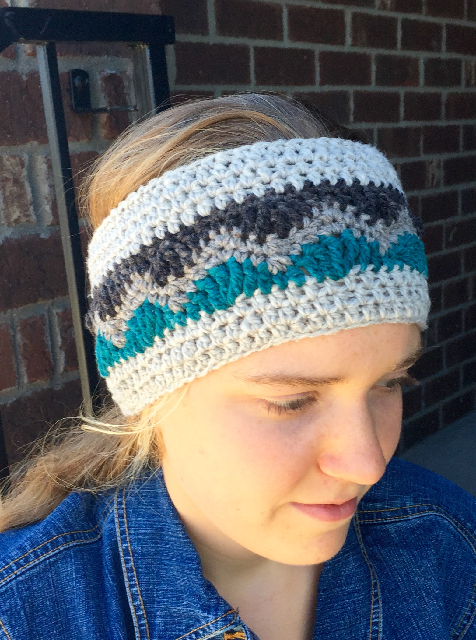 Alpine earwarmer crochet pattern in wool
