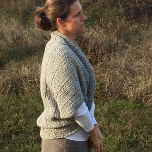 Angela's Shrug crochet pattern by Little Monkeys Designs side view