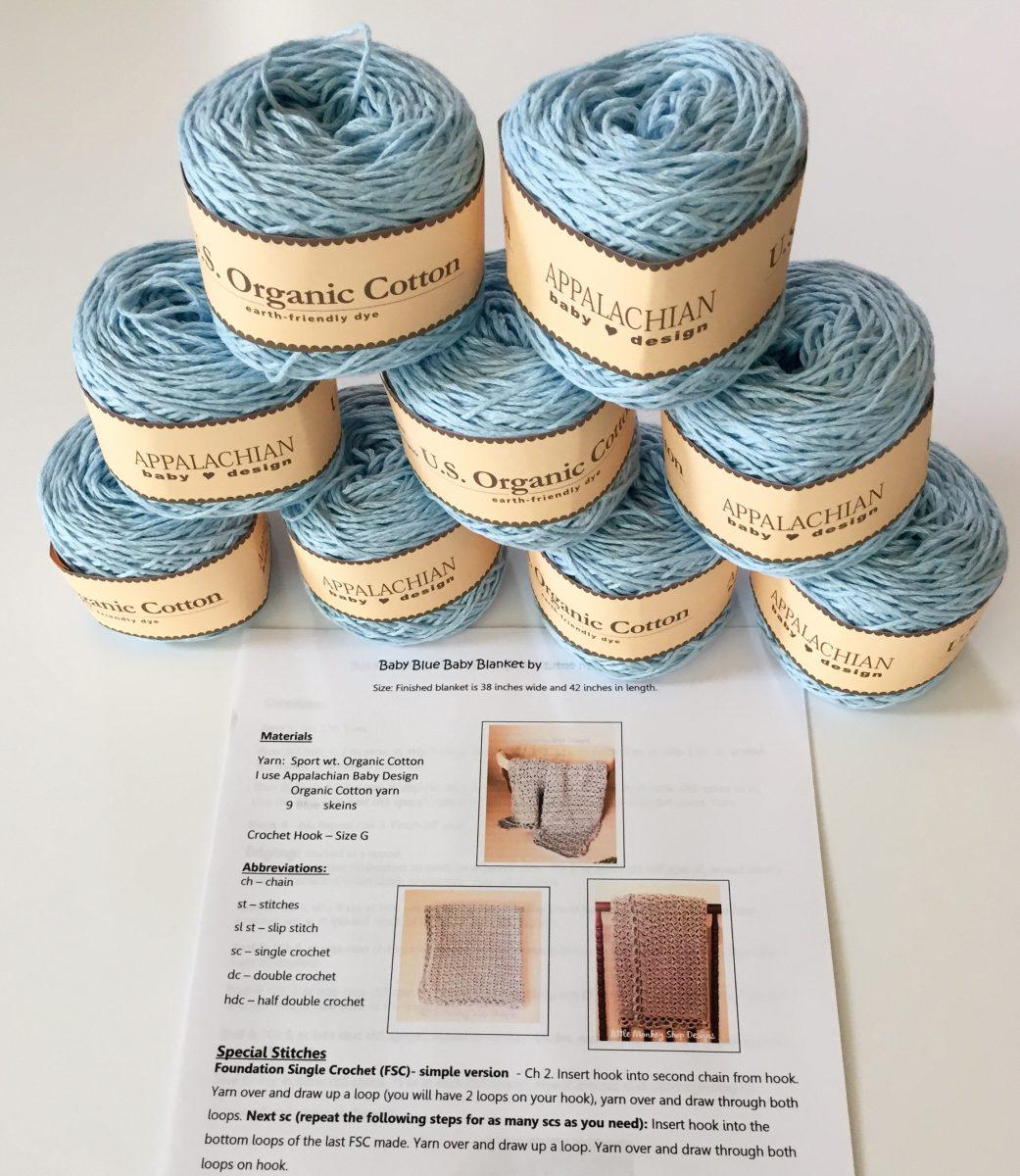 Baby Blue Baby Blanket crochet pattern by little monkeys designs blue diy kit
