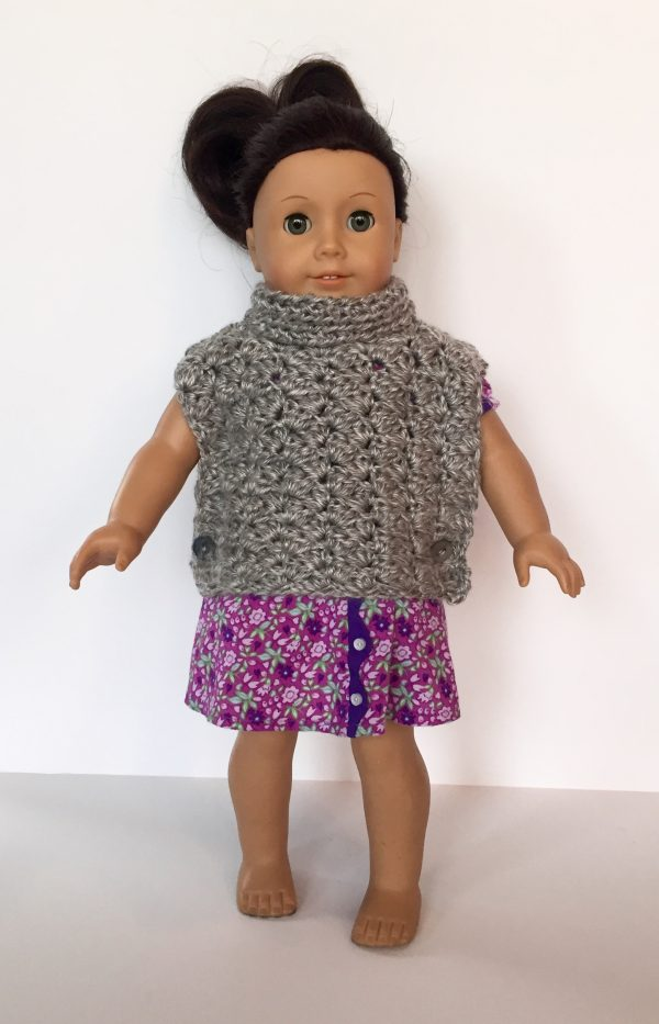 Fiona Pullover Poncho Crochet Pattern for American Girl Doll by Little Monkeys Designs