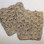womens shell pattern boot cuffs in oatmeal