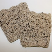 womens shell pattern boot cuffs in oatmeal