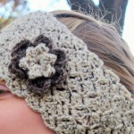 crochet pattern ear warmer womens girls toddlers lacy in oatmeal