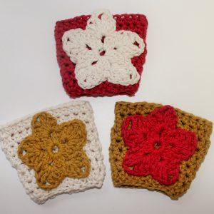 crochet pattern coffee sleeve cozy star red
