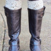 cable boot cuffs with brown boots