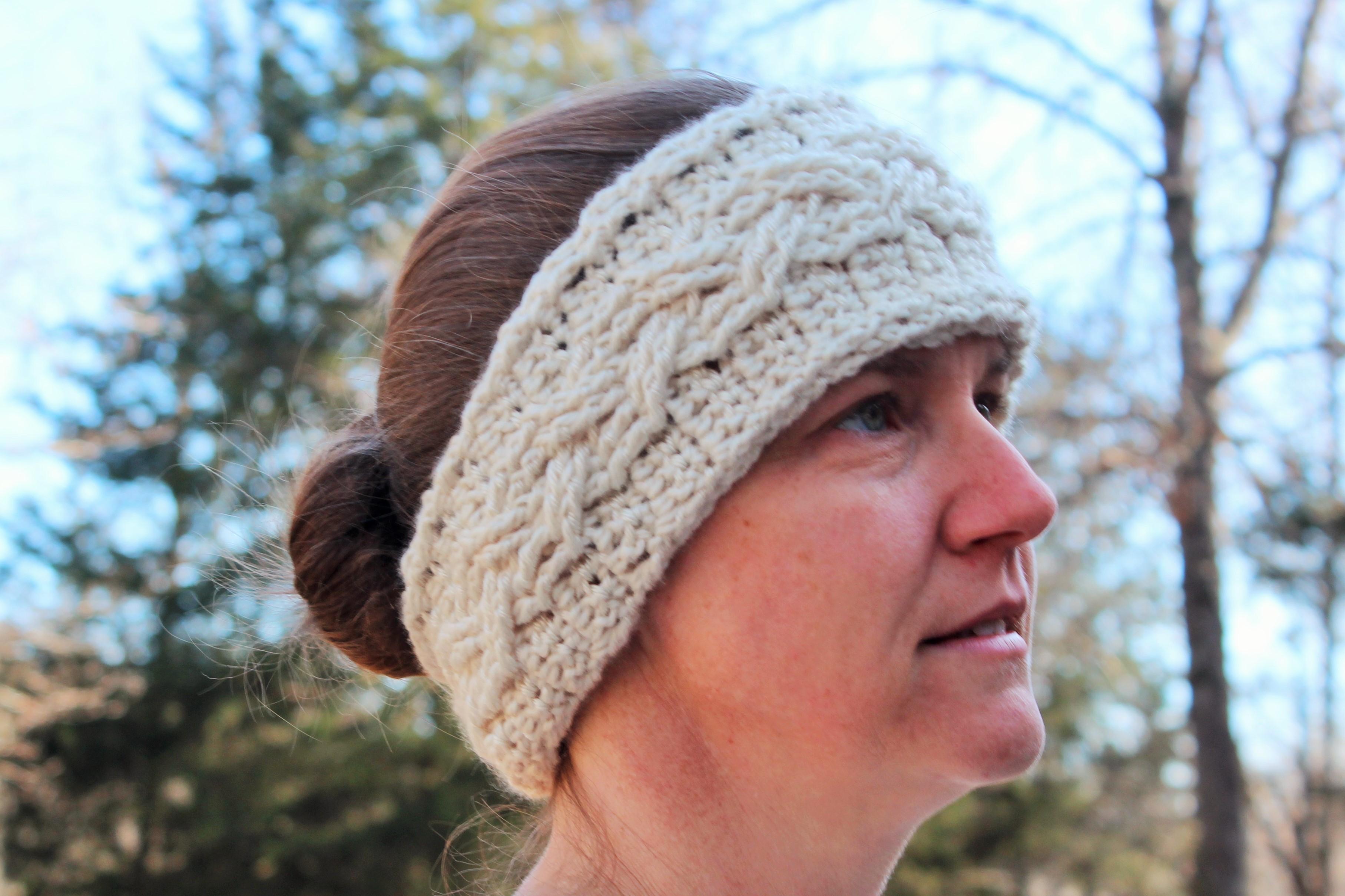 cable stitch ear warmer crochet pattern