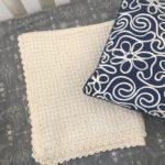 Organic cotton baby blanket crochet pattern and gift by Little Monkeys Design