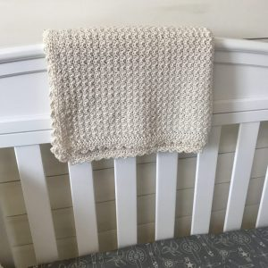 Organic cotton baby blanket crochet pattern and gift by Little Monkeys Design