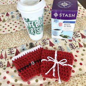 Coffee cozy crochet patterns by Little Monkeys Designs - coffee sleeve pattern