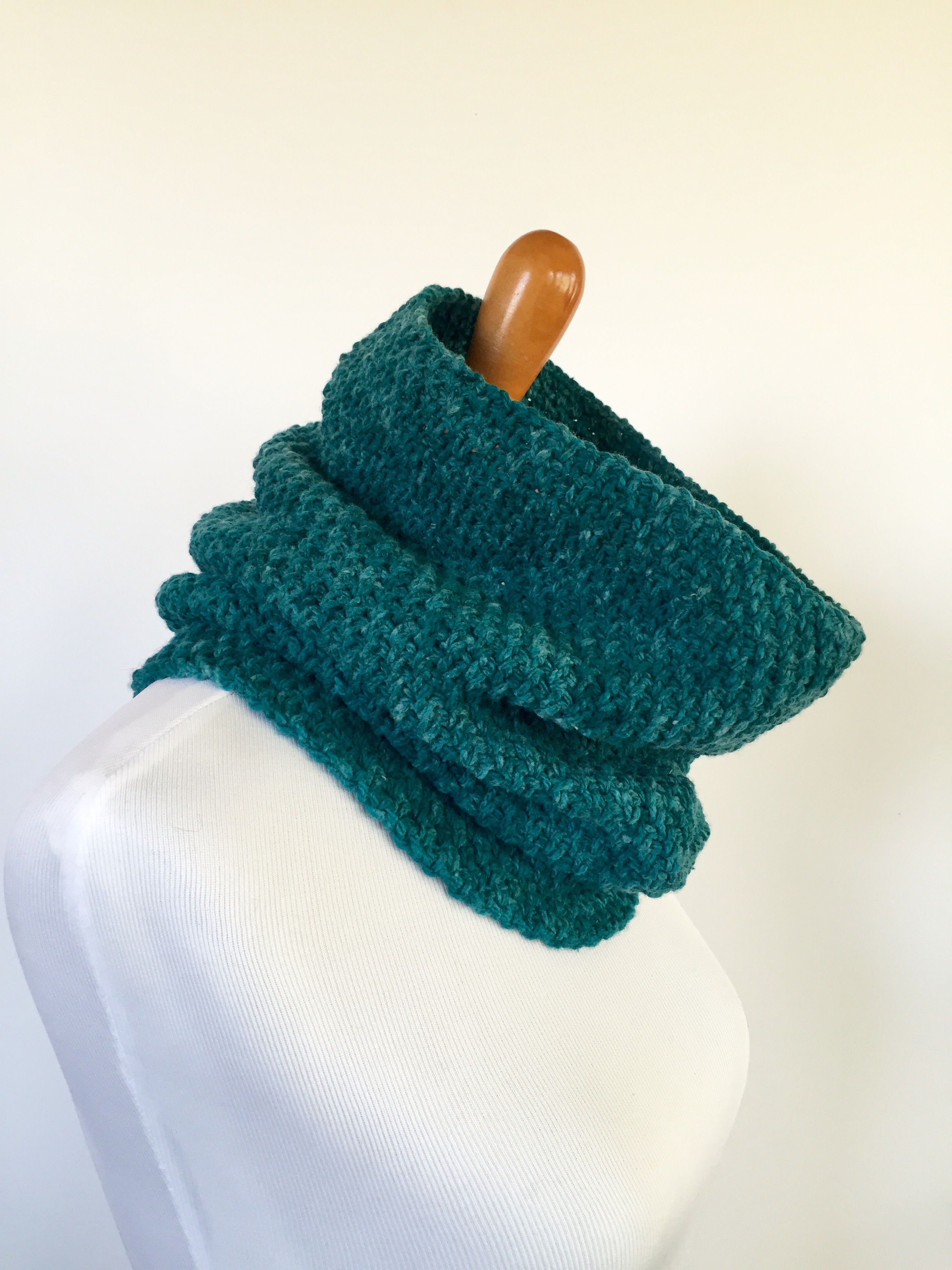 Shannons cowl in teal wool by Little Monkeys Designs