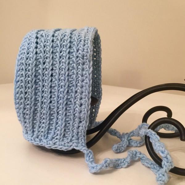 crochet pattern baby bonnet vintage ribbed little monkeys designs