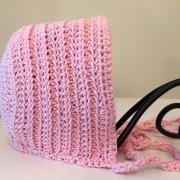 crochet pattern baby bonnet vintage ribbed little monkeys designs pink