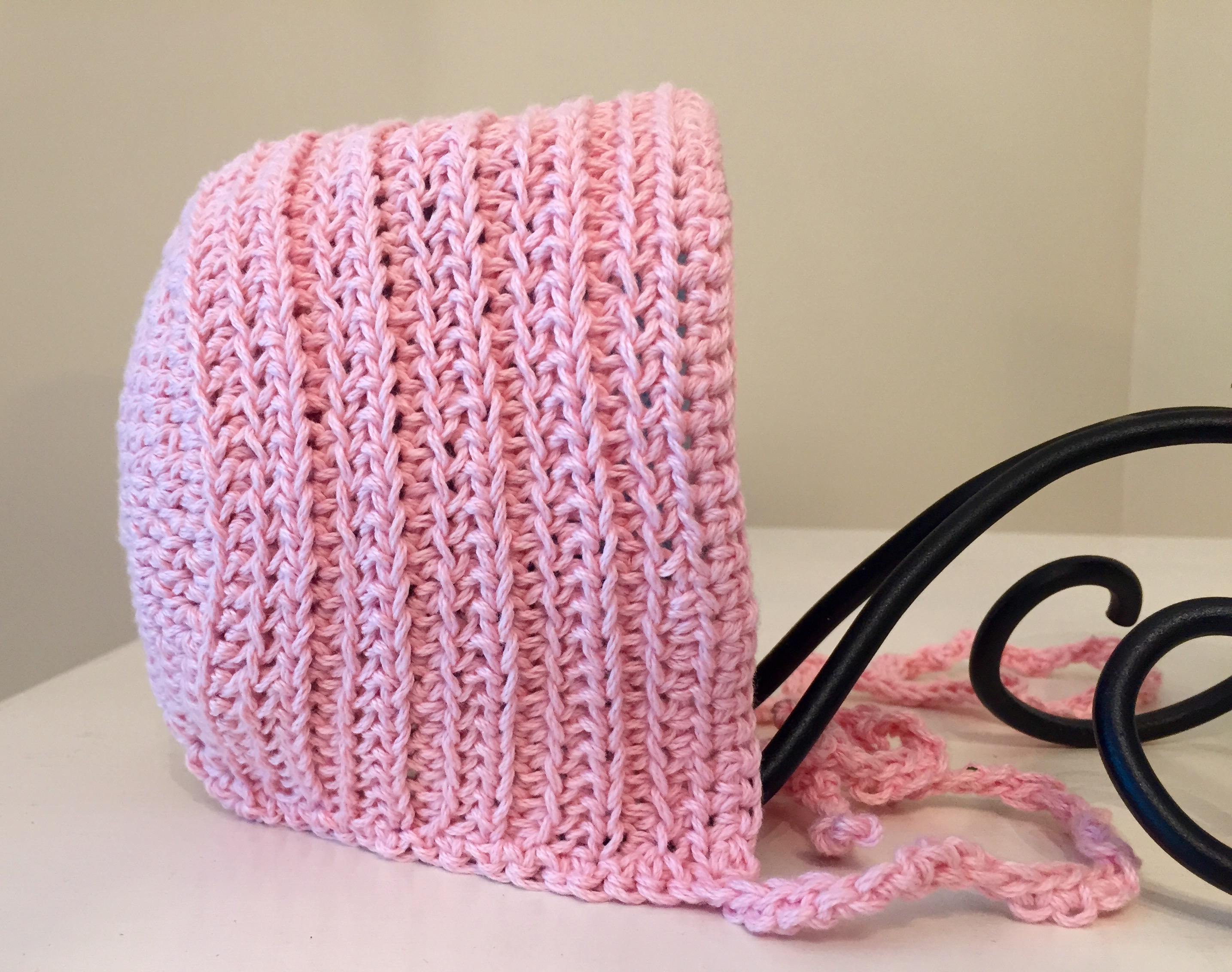 DIY Yarn and Crochet Pattern Kit - Ribbed Vintage Baby Bonnet -