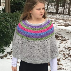 Bohemian Stripes Poncho crochet pattern by Little Monkeys Designs
