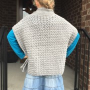back view of crochet poncho fiona