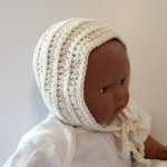 crochet pattern baby bonnet vintage ribbed little monkeys designs cream
