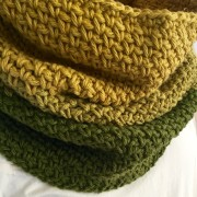 ombre cowl in green and yellow cotton