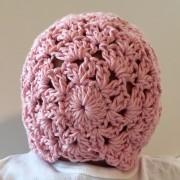 crochet pattern baby bonnet princess charlotte little monkeys designs pink back view
