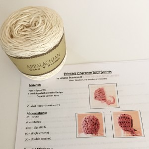 diy yarn and pattern kit for cream shells bonnet