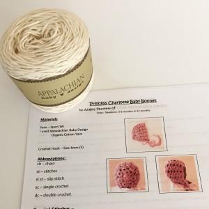 diy yarn and pattern kit for cream shells bonnet