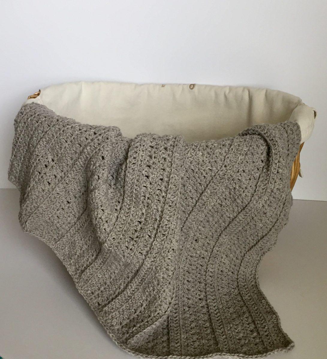stripes baby blanket crochet pattern by little monkeys designs grey in basket