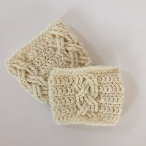Three Cables boot cuffs crochet pattern by Little Monkeys Designs