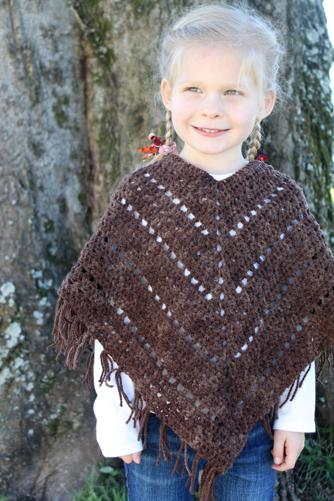 crochet pattern boho poncho in merino worsted yarn brown