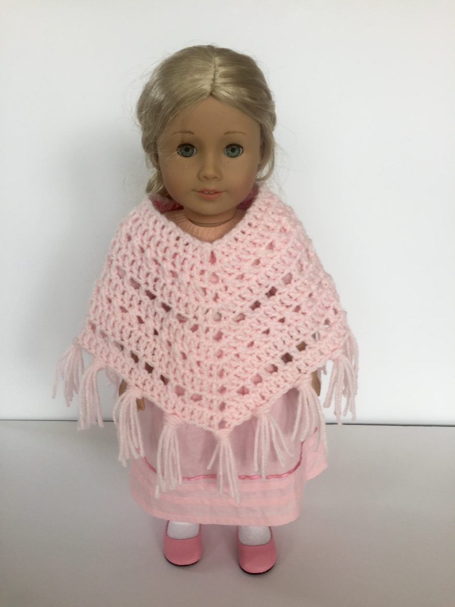 Boho Crosses Poncho crochet pattern for American Girl Doll by Little Monkeys Designs upclose