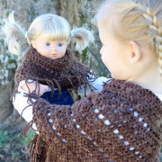 crochet pattern boho poncho doll, girls, women