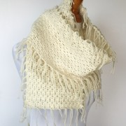 boho fringed scarf in merino wool bohemian style scarf