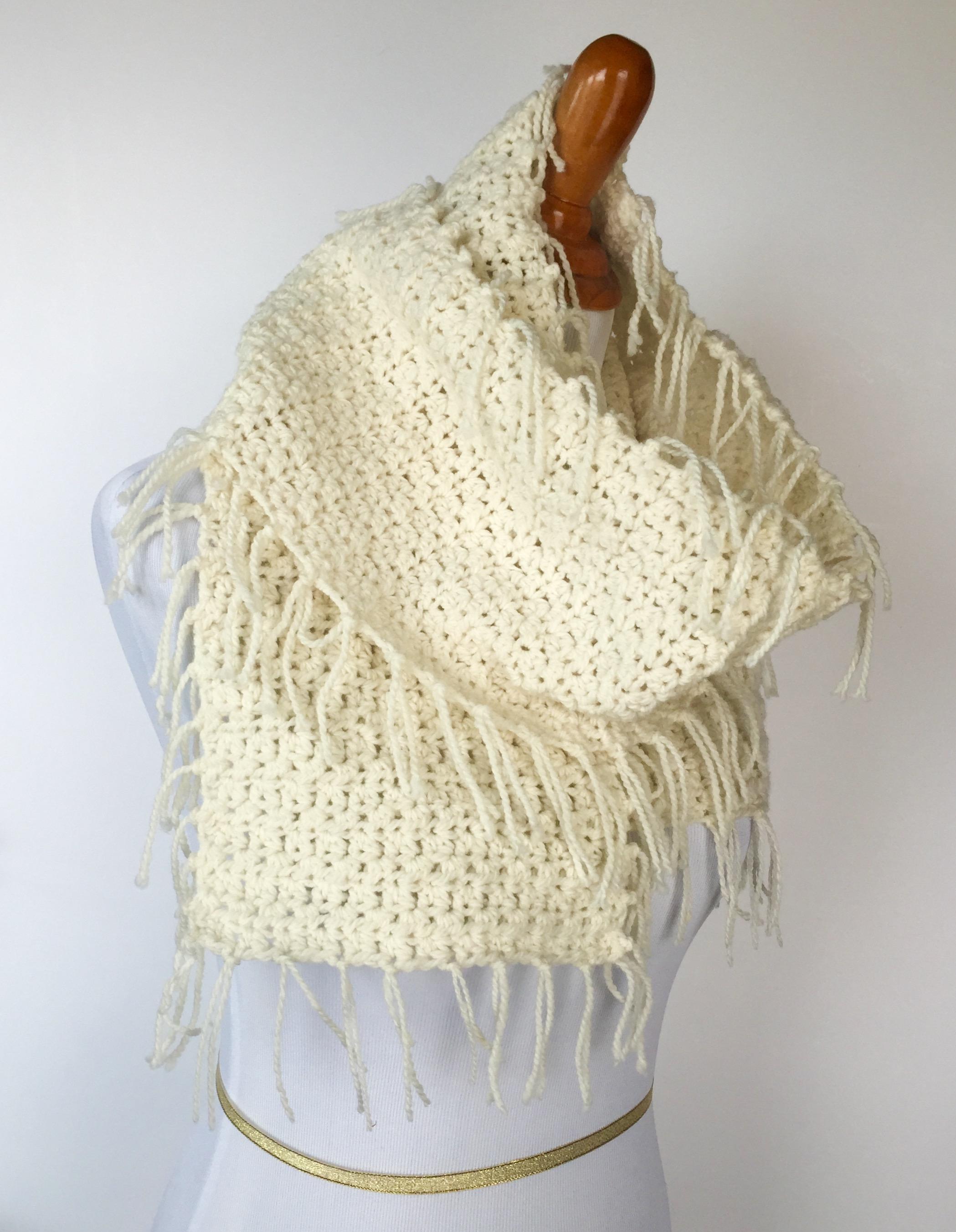 Boho Fringed Scarf Crochet pattern by Little Monkey\'s Designs