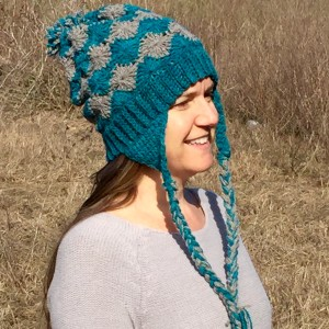 crochet pattern hat with ear flaps in merino worsted yarn