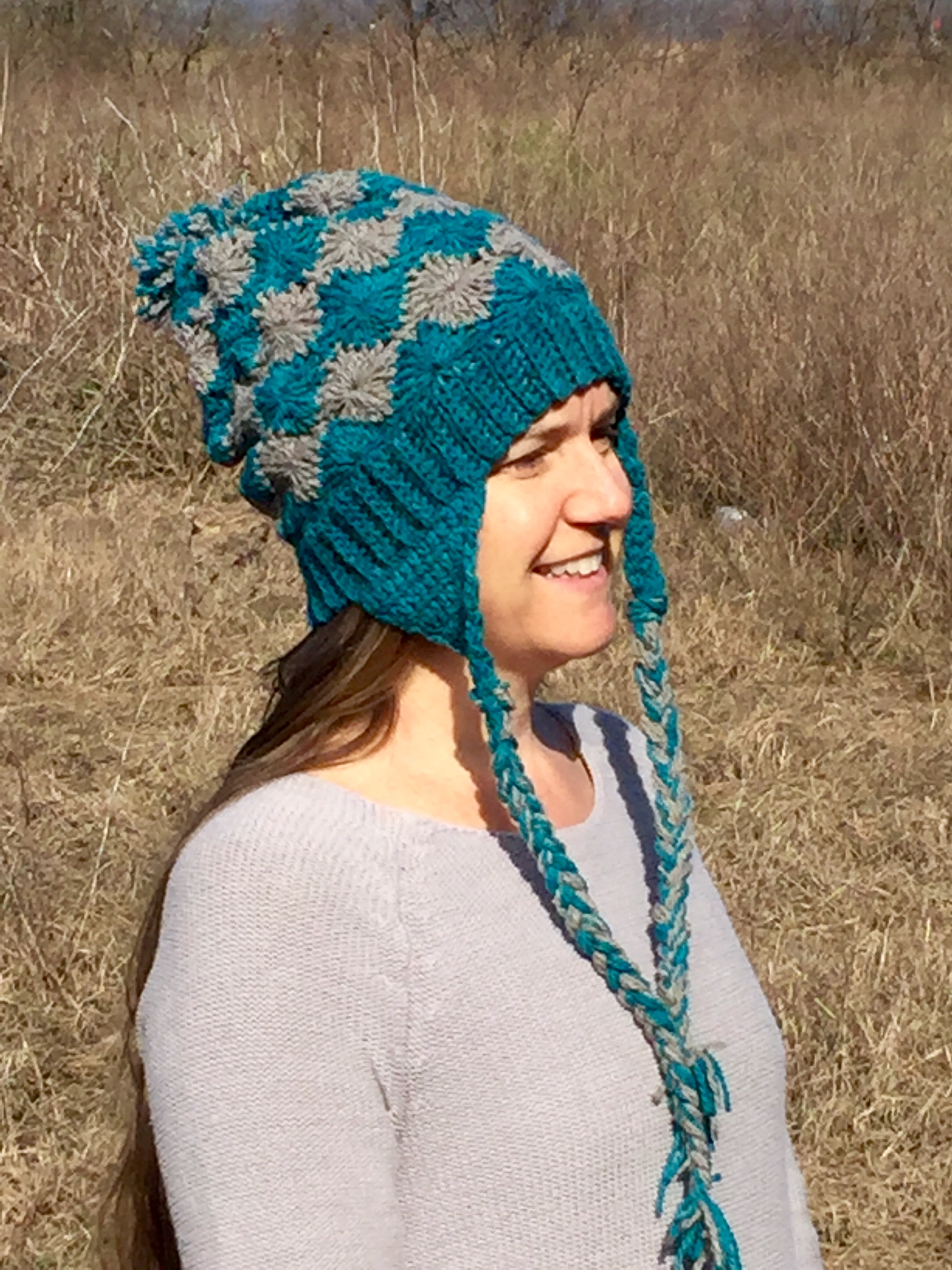 Doris Diamond Hat in Teal and Gray Crochet Pattern by Little Monkey's Designs