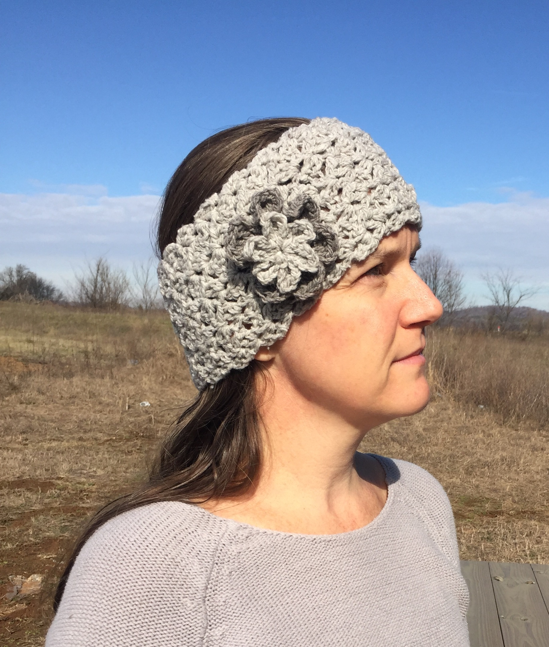 Queen's Lace Ear Warmer in merino wool crochet pattern by Little Monkey's Designs