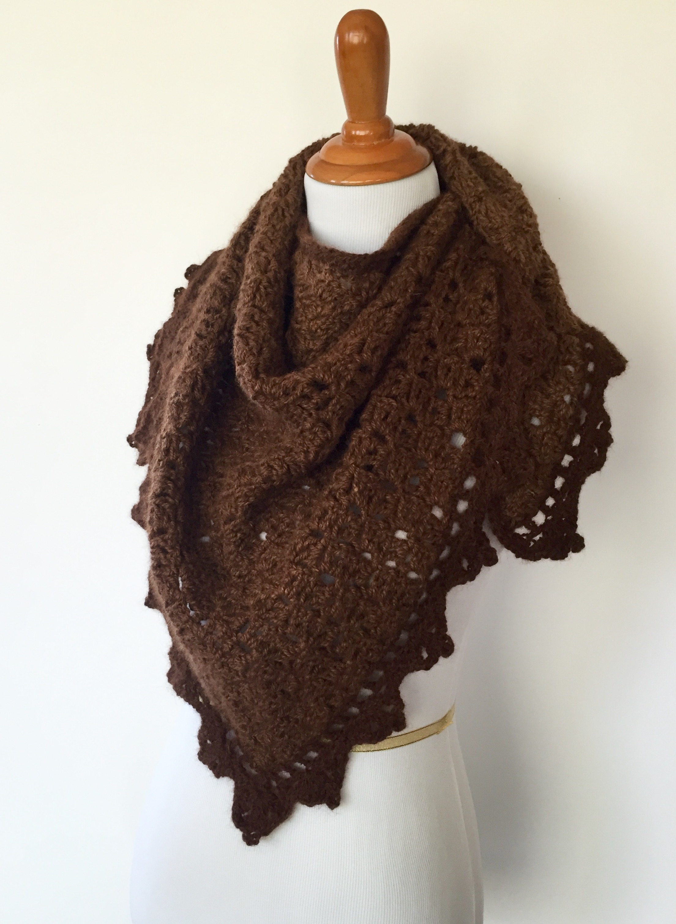Triangle Shawl brown alpaca side view scarf