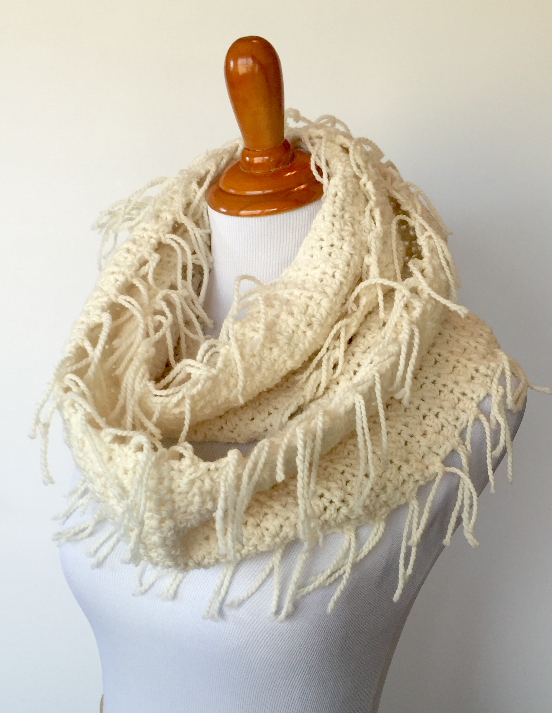 boho fringed infinity scarf by little monkey's designs