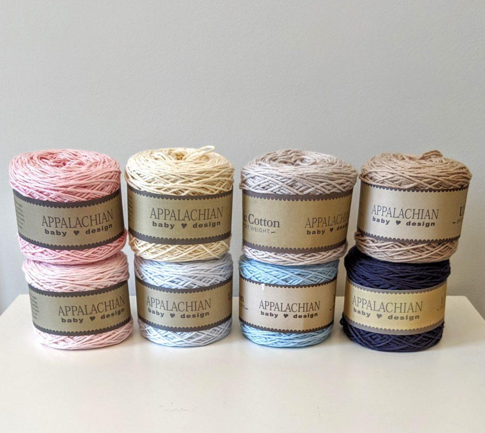 Appalachian Baby Design organic cotton yarn – 8 yarn colors