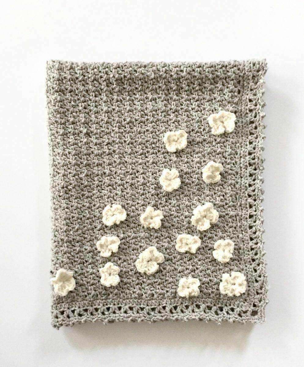 Flower Basket Baby Blanket in mountain meadow wool
