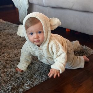 Lambs Ear Cardigan crochet pattern by Little Monkeys Designs