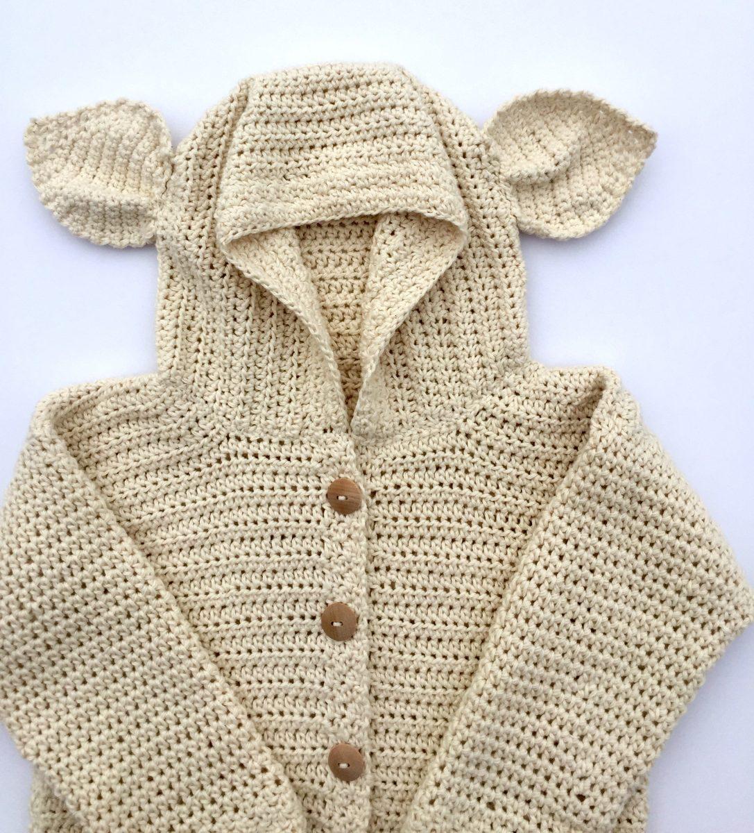 Lamb S Ear Baby Cardigan Crochet Pattern By Little Monkeys Designs