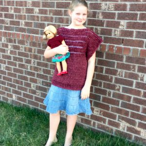 crochet pattern pullover for girls in merino wool
