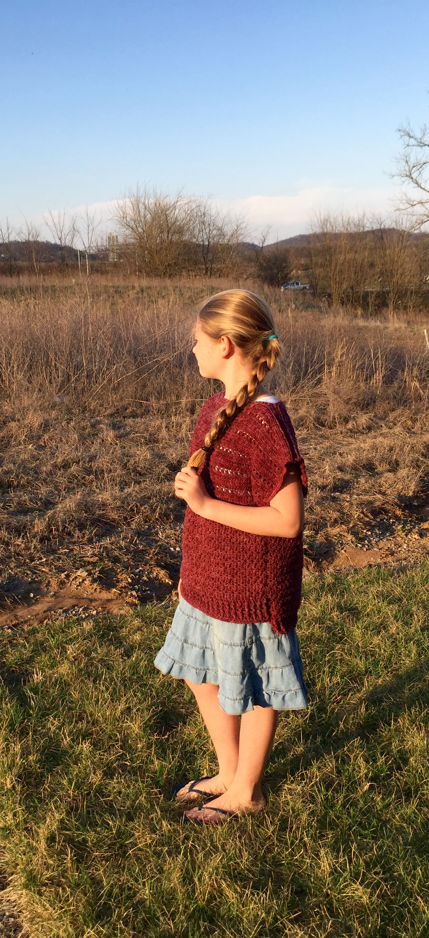 Ruth Pullover Crochet pattern for girls in red