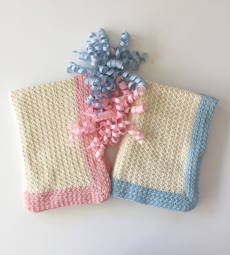 baby blanket crochet pattern cream and pink