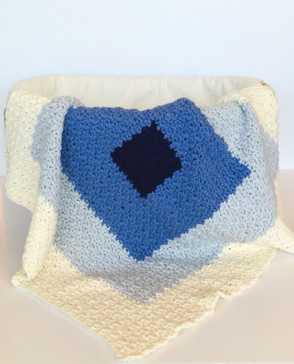 Sqaures Baby Blanket in Blue Sky Alpaca Organic worsted cotton yarn creamsicle
