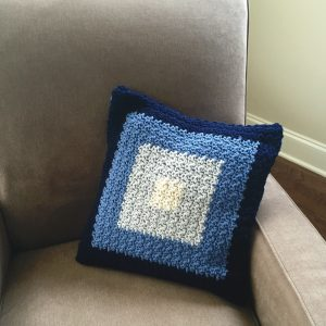 Squares pillow cover crochet pattern by Little Monkeys Designs
