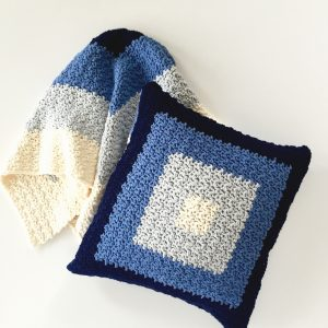 Sqaures Baby Blanket crochet pattern and pillow cover crochet pattern by Little Monkeys Designs