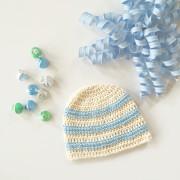 sweet stripes organic cotton baby hat crochet pattern by little monkeys design