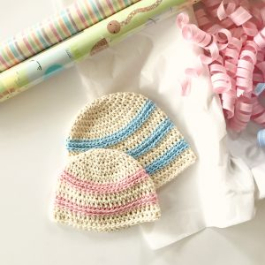 Sweet Stripes Baby Hat crochet pattern by Little Monkeys Designs