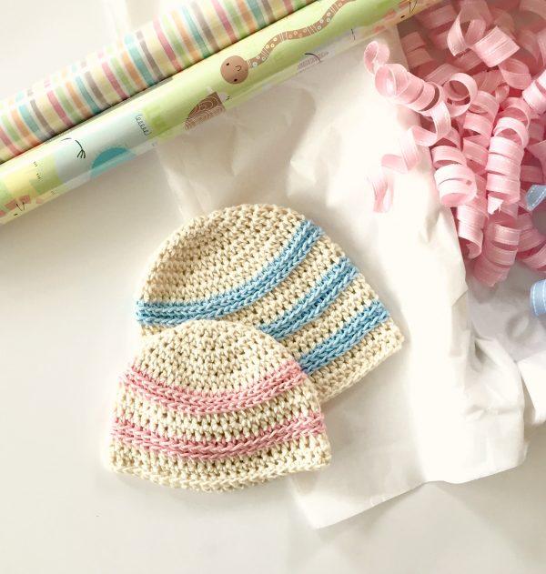 Sweet Stripes Baby Hat crochet pattern by Little Monkeys Designs